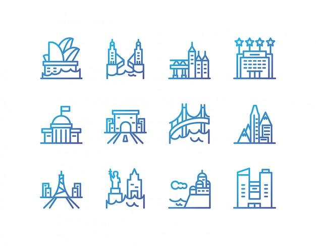Изолированные городские здания значок набор векторных дизайн