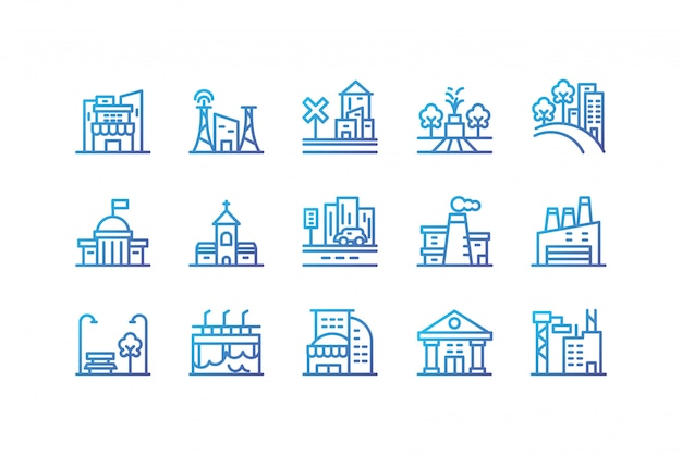Isolated city buildings icon set vector design