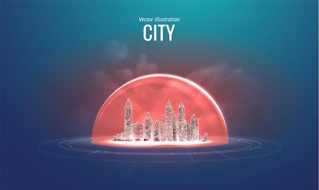 Изолированный город. концепция защиты и изоляции от внешних факторов риска.