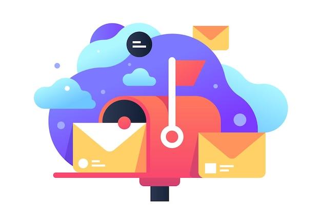 게시물에 대 한 편지 아이콘으로 고립 된 클래식 사서함입니다. 통신을위한 개념 기호 개인 배달 서비스.