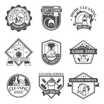 Isolated cleaning icons set
