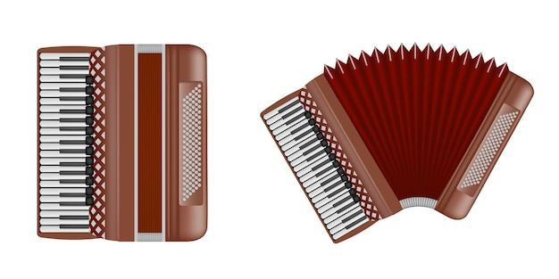 Изолированная закрытая и открытая иллюстрация аккордеона