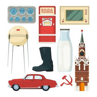 Isolated  collection of historical landmarks and symbols of ussr with carbonated water text .
