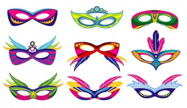Isolated color mardi gras masks collection