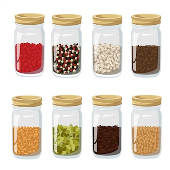 Isolated and colored herbs spices jars icon set in realistic style with different spices inside illustration
