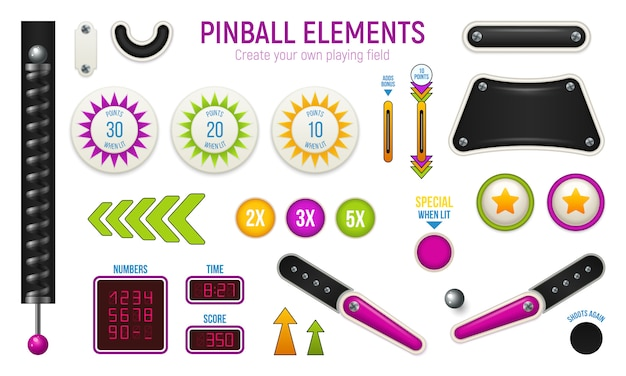 Isolated and colored pinball horizontal icon set with different elements of deck