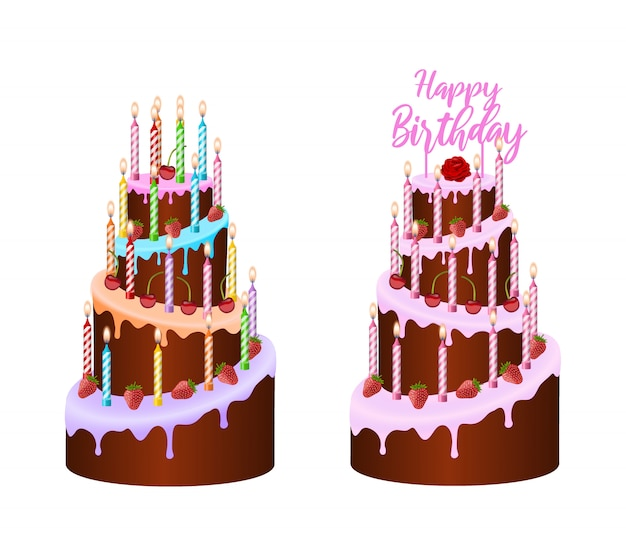 Isolated colorful birthday cakes