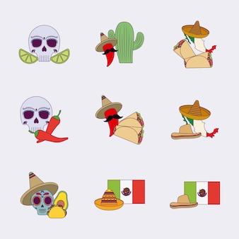 孤立したカラフルなメキシコのアイコンを設定