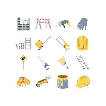 Isolated construction icon set
