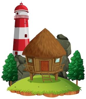 Cottage isolato su bianco
