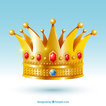 Isolated crown with red jewels