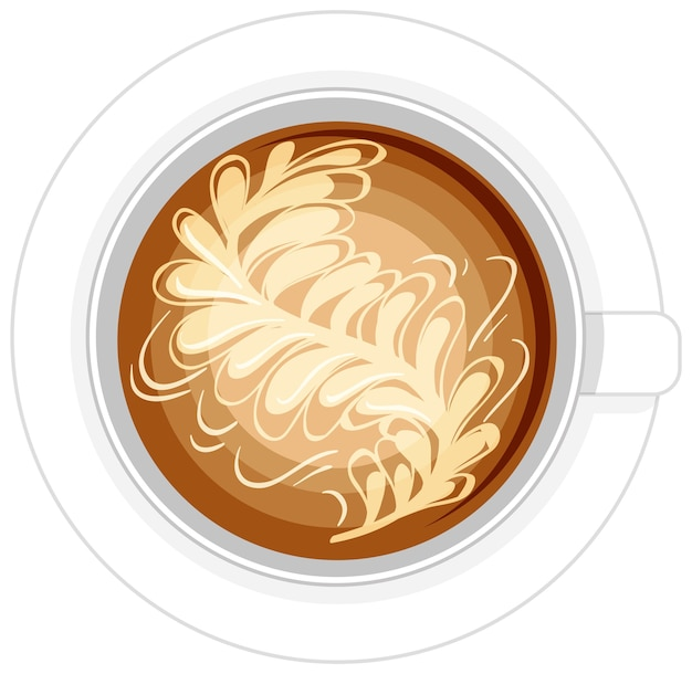 白い背景の上のコーヒーのロゴの分離カップ