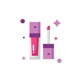 Изолированные милый красный блеск для губ составляют набор иконок