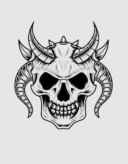 Isolated demon skull head