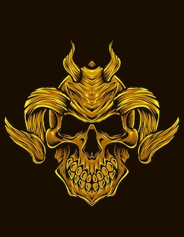 Isolated demon skull illustration