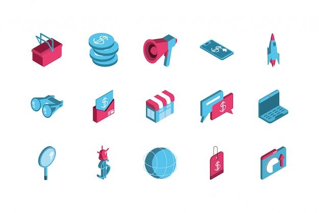 Isolated digital marketing icon set design