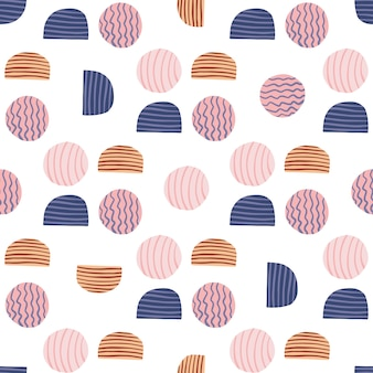 Isolated doodle abstract seamless pattern. circle and halfs in pink, navy and beige colors on white background.