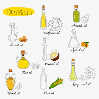 Isolated doodle cooking oils. mixed colored and outline