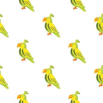 녹색과 노란색 앵무새 새 장식으로 고립 된 낙서 완벽 한 패턴입니다. 흰색 배경. 직물 디자인, 직물 인쇄, 포장, 덮개에 적합합니다. 벡터 일러스트 레이 션.