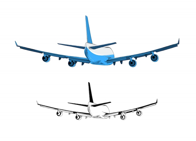 Isolated drawing of airplane in blue color. Premium Vector