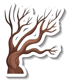 Adesivo cartone animato albero secco isolato su sfondo bianco