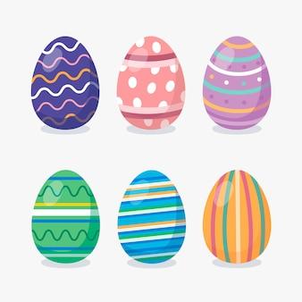 Изолированные яйца на белом фоне плоской конструкции
