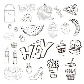 Isolated elements with sweets food and girly elements Premium Vector
