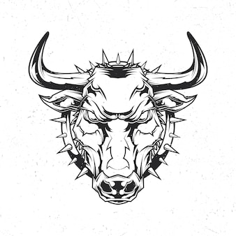 Isolated emblem with illustration of angry bull