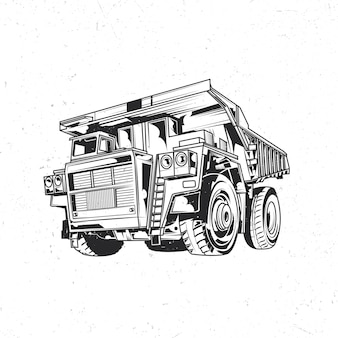 Isolated emblem with illustration of dump truck