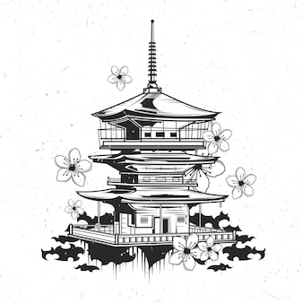 Isolated emblem with illustration of japanese temple