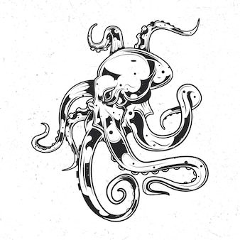 Isolated emblem with illustration of octopus