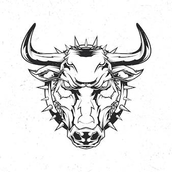 怒っている雄牛のイラストと孤立したエンブレム