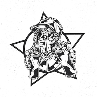 Isolated emblem with illustration of street artist