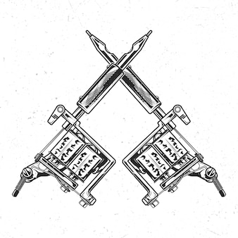 Isolated emblem with illustration of tattoo machines