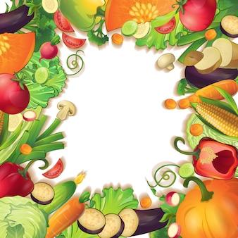 현실적인 야채 과일과 조각으로 둘러싸인 격리 된 빈 원 빈 배경에 개념적 구성 기호