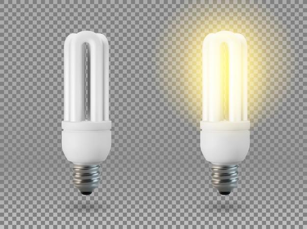 孤立した省エネ電球、透明な背景上のオブジェクト、光と輝きの効果。リアルな3 dオブジェクト、創造性とアイデアの象徴。ビジネスやスタートアップのコンセプトです。