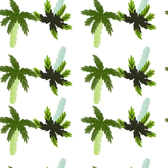 抽象的な青と緑のココナッツの手のひらの形をした孤立したエキゾチックなシームレスパターン。白色の背景。ファブリックデザイン、テキスタイルプリント、ラッピング、カバー用に設計されています。ベクトルイラスト。