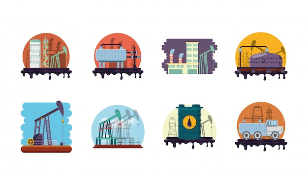 Isolated factory icon set
