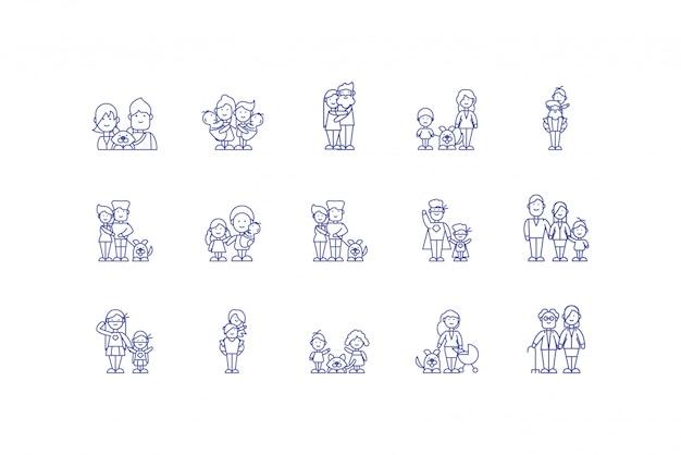 孤立した家族漫画アイコンセットデザイン
