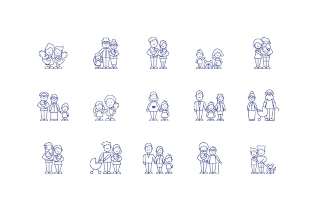 Isolated family cartoons icon set design
