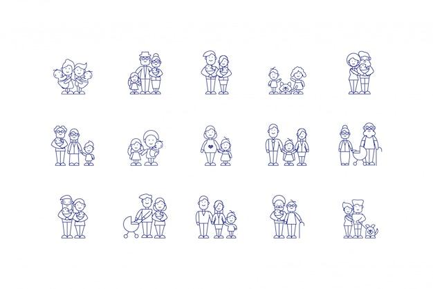 Изолированные семейные мультфильмы значок набор дизайн