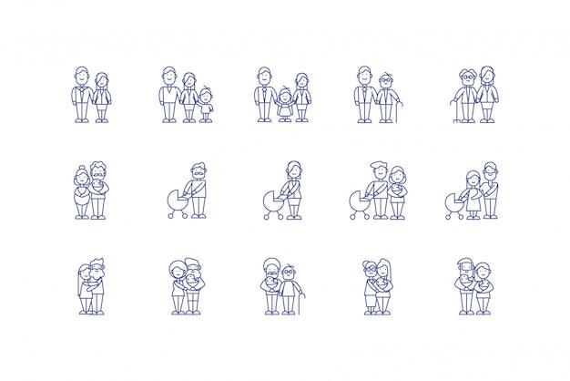 Isolated family cartoons icon set design