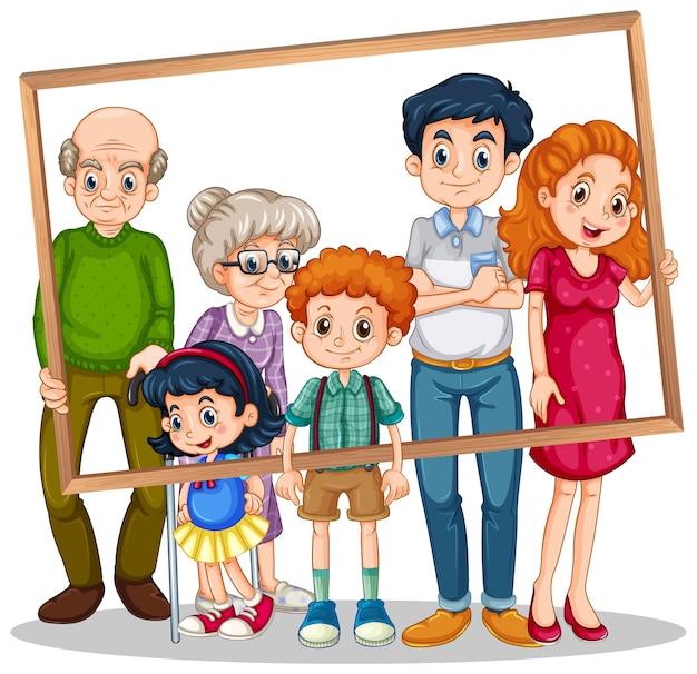 フォトフレームと孤立した家族の写真