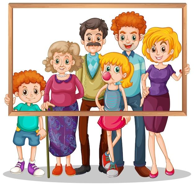 Изолированная семейная фотография с фоторамкой