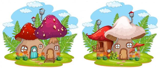 Casa dei funghi fantasia isolata