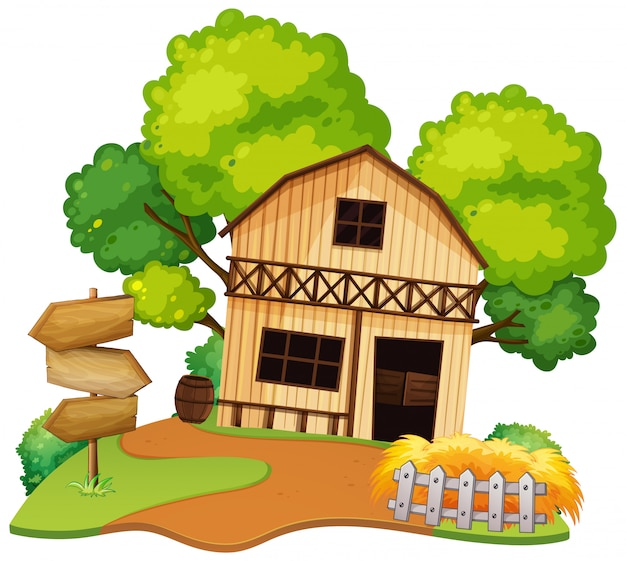 Isolated farmer house on white background