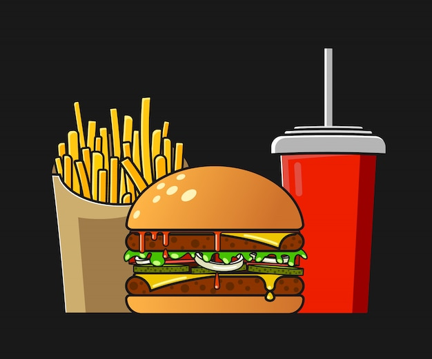 Isolated fast food illustration in flat style. Premium Vector