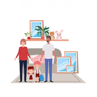 Isolated father and mother with kids