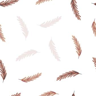 낙서 간단한 스타일에 고립 된 깃털 완벽 한 패턴입니다. 흰 바탕. 장식 인쇄.