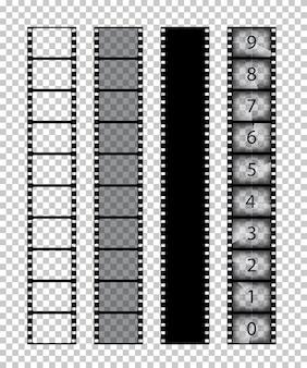 투명 배경에 고립 된 필름 스트립.